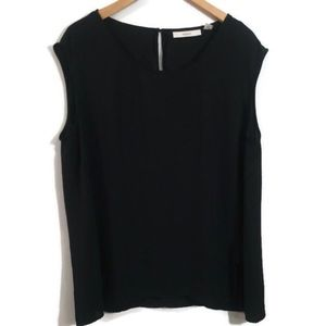 Sejour Blouse Size 20W Top Black Semi Sheer Slits
